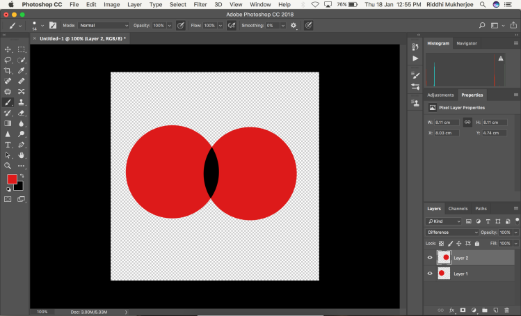 Notice how to intersection of both the layers changed to black after setting the blending mode to Difference.